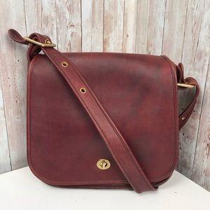 Rare vintage Coach red leather saddle bag HTF